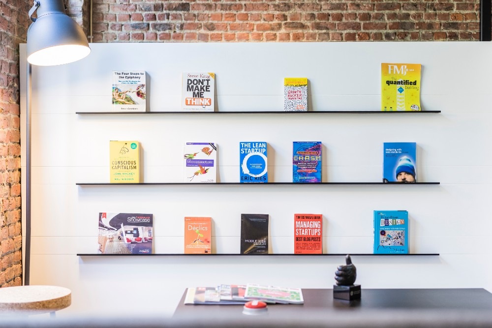 row of books about startups