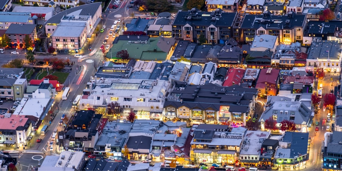 Aerial of Queenstown CBD at night