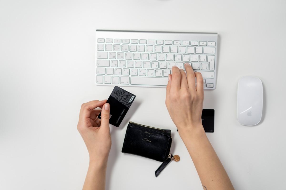 credit card wallet and keyboard